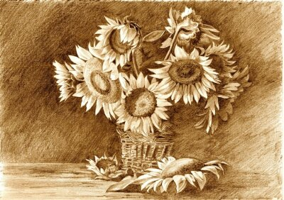 Quadro Pencil drawing of bouquet of sunflowers in vase closeup