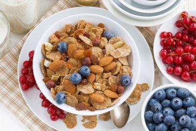 Quadro Pequeno almoço, cereais, flocos, nozes, bagas, topo, vista
