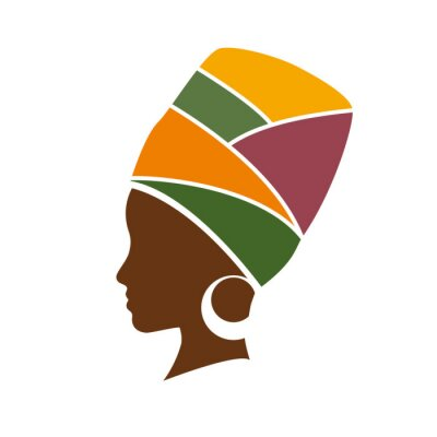 Quadro Perfil do vetor da mulher africano com chapéu
