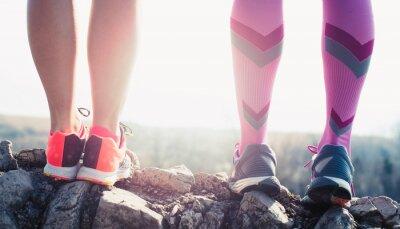 Quadro pés atleta do esporte que funciona na fuga lifestyle da aptidão saudável