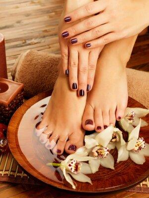 Quadro pés femininos no salão de beleza spa pedicure em processo
