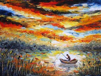 Quadro Pesca, nuvens, rio. por do sol, pintura. Espátula