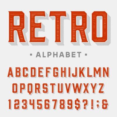 Quadro Pia batismal retro do vetor. Cartas, números e símbolos. Alfabeto do vintage para etiquetas, headlines, cartazes etc.