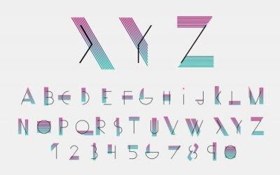 Quadro Pias batismais e números alfabéticos pretos com linhas de cor. Ilustração do vetor.