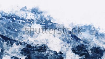 Quadro Pico montanha, em, inverno, paining, em, tom azul, branco, digital, aquarela, quadro