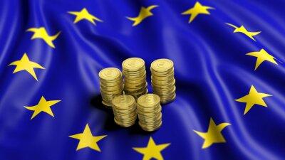 Quadro Pilhas, Euro, dourado, moedas, ondulado, bandeira, europeu, união