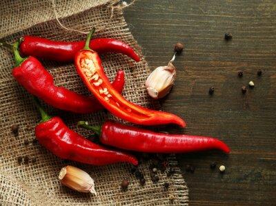 Quadro Pimentas de pimentão vermelho quente e alho,