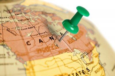 Quadro Pin verde no mapa.