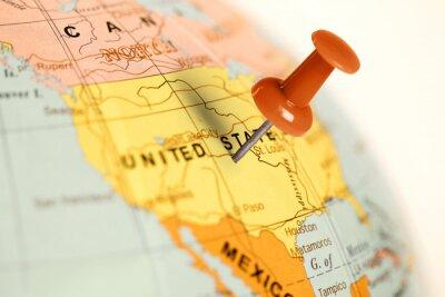 Quadro Pino vermelho no mapa.