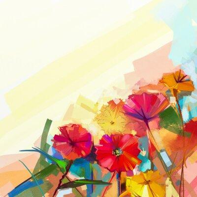 Quadro Pintura a óleo abstrata de flores da mola. Ainda vida da flor amarela e vermelha do gerbera. Flores coloridas do ramalhete com fundo verde-azul claro da cor. Estilo floral impressionista moderno pinta