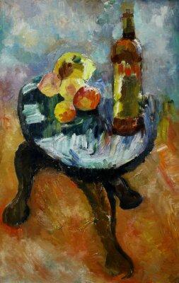 Quadro Pintura a óleo ainda vida com em uma cadeira maçã e pêssegos no estilo do impressionismo em cores brilhantes Na lona