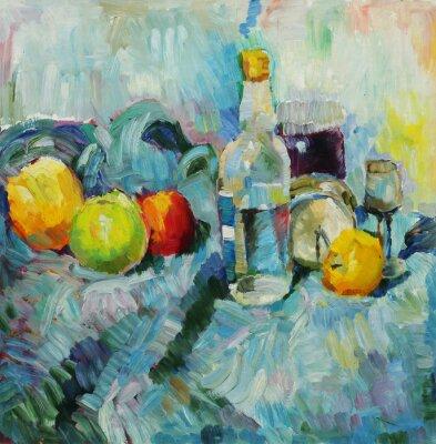 Quadro Pintura a óleo. Ainda, vida, garrafa, maçãs, tecido, fundo