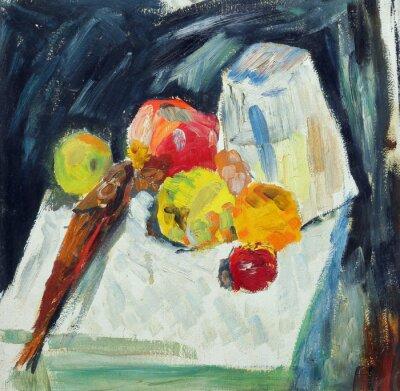 Quadro Pintura a óleo. Ainda, vida, peixe, maçãs, tabela