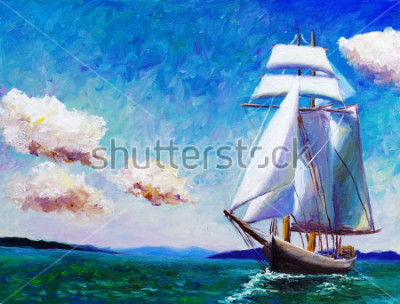 Quadro Pintura a óleo - barco à vela
