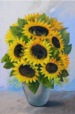 Quadro Pintura a óleo - buquê de girassóis em um vaso em um fundo abstrato, belas flores