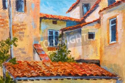 Quadro Pintura a óleo colorida - telhados de casas, rua Europeia, impressionismo de arte