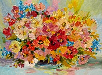 Quadro Pintura a óleo - colorido buquê de flores do verão em um fundo abstrato