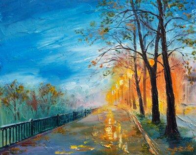 Quadro Pintura a óleo da noite rua outono