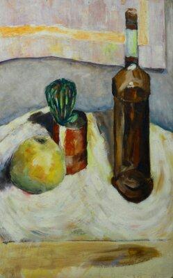 Quadro Pintura a óleo da vida imóvel com cactus garrafa da maçã do álcool no estilo impressionista Na lona