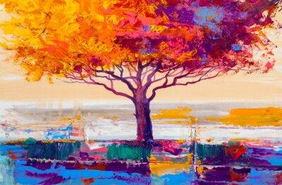 Quadro Pintura a óleo de árvore, artistico