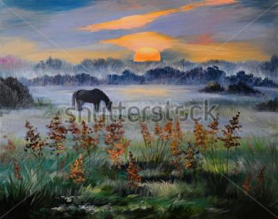 Quadro Pintura a óleo de campo ao pôr do sol