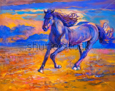 Quadro Pintura a óleo de cavalo correndo. Arte Moderna