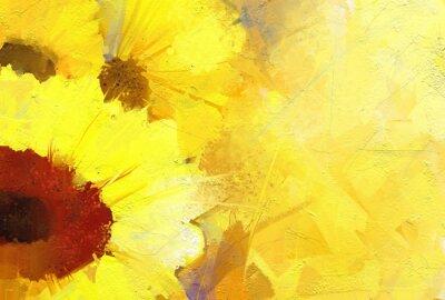 Quadro Pintura a óleo de girassol fundo dourado.