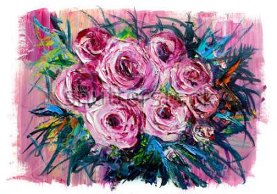 Quadro Pintura a óleo de um buquê de rosas. Estilo impressionista.