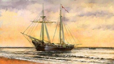 Quadro Pintura a óleo do mar. Navios, barco, pescador. Arte digital
