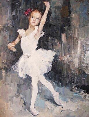 Quadro Pintura a óleo, menina bailarina. Desenhado, bonito, ballerina, dançar