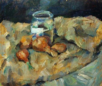 Quadro Pintura a óleo original bonita da vida imóvel. Bulbo dopot em telas Na lona em cores amarelas e azuis no estilo do impressionismo