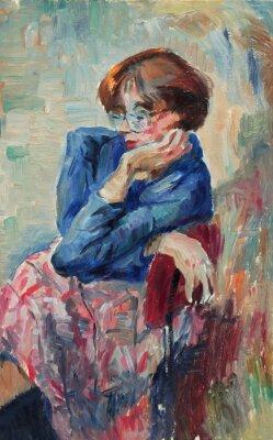 Quadro Pintura a óleo original bonita do retrato de cores brilhantes de uma mulher na lona no estilo do impressionismo