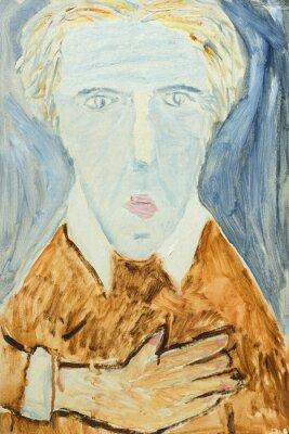 Quadro Pintura a óleo original bonita do retrato de um homem em cores alaranjadas e cinzentas na lona