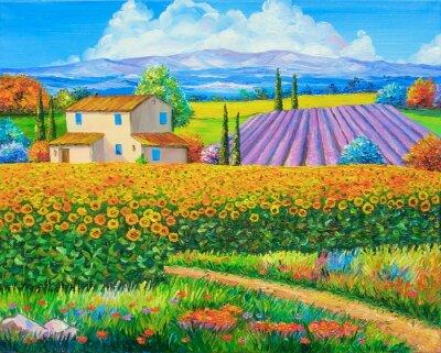 Quadro Pintura a óleo original Campos do girassol e da alfazema