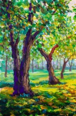 Quadro Pintura a óleo original, estilo contemporâneo. Grandes árvores grandes carvalhos na floresta do parque - paisagem ensolarada primavera verde