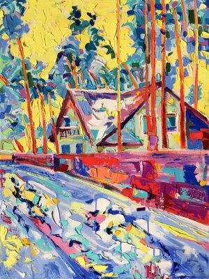 Quadro pintura a óleo original na lona da vila de inverno paisagem
