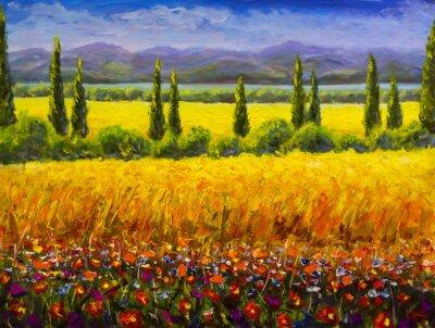 Quadro Pintura a óleo paisagem de Toscana de verão italiano, arbustos de ciprestes verdes, campo amarelo, flores vermelhas, montanhas e céu azul arte finala imagem em tela
