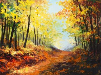 Quadro Pintura a óleo paisagem - floresta colorida do outono