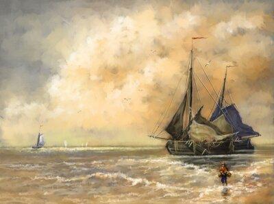 Quadro Pintura a óleo paisagem, mar, navios, barco