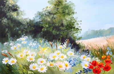 Quadro Pintura a óleo paisagem - prado de margaridas