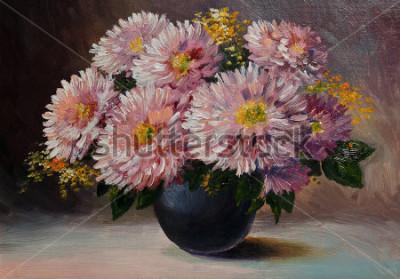 Quadro Pintura a óleo sobre tela - ainda vida flores sobre a mesa