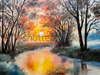 Quadro pintura a óleo sobre tela - o rio
