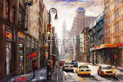 Quadro pintura a óleo sobre tela, rua vista de Nova York, mulher sob guarda-chuva vermelha, táxi amarelo, arte moderna, cidade americana, ilustração nova york