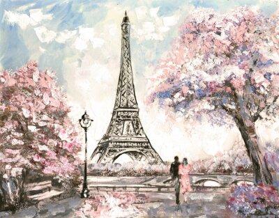 Quadro Pintura a óleo, Street View de Paris. Tender paisagem, primavera