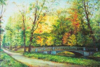 Quadro Pintura A ponte na floresta óleo Original
