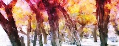 Quadro Pintura abstrata de floresta colorida com folhas amarelas no outono