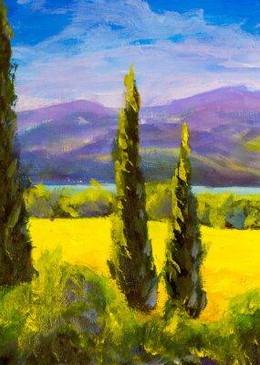 Quadro Pintura ciprestes toscana italiana paisagem campo montanhas arbustos verticalmente