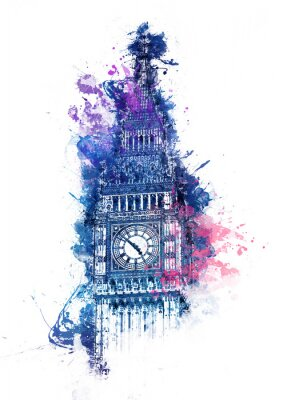 Quadro Pintura colorida da aguarela de Big Ben