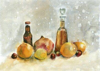 Quadro Pintura da aguarela. Ainda vida com laranjas, romã e frascos no fundo do vintage.