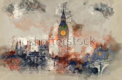 Quadro Pintura da aguarela do Big Ben e casas do parlamento durante o inverno.